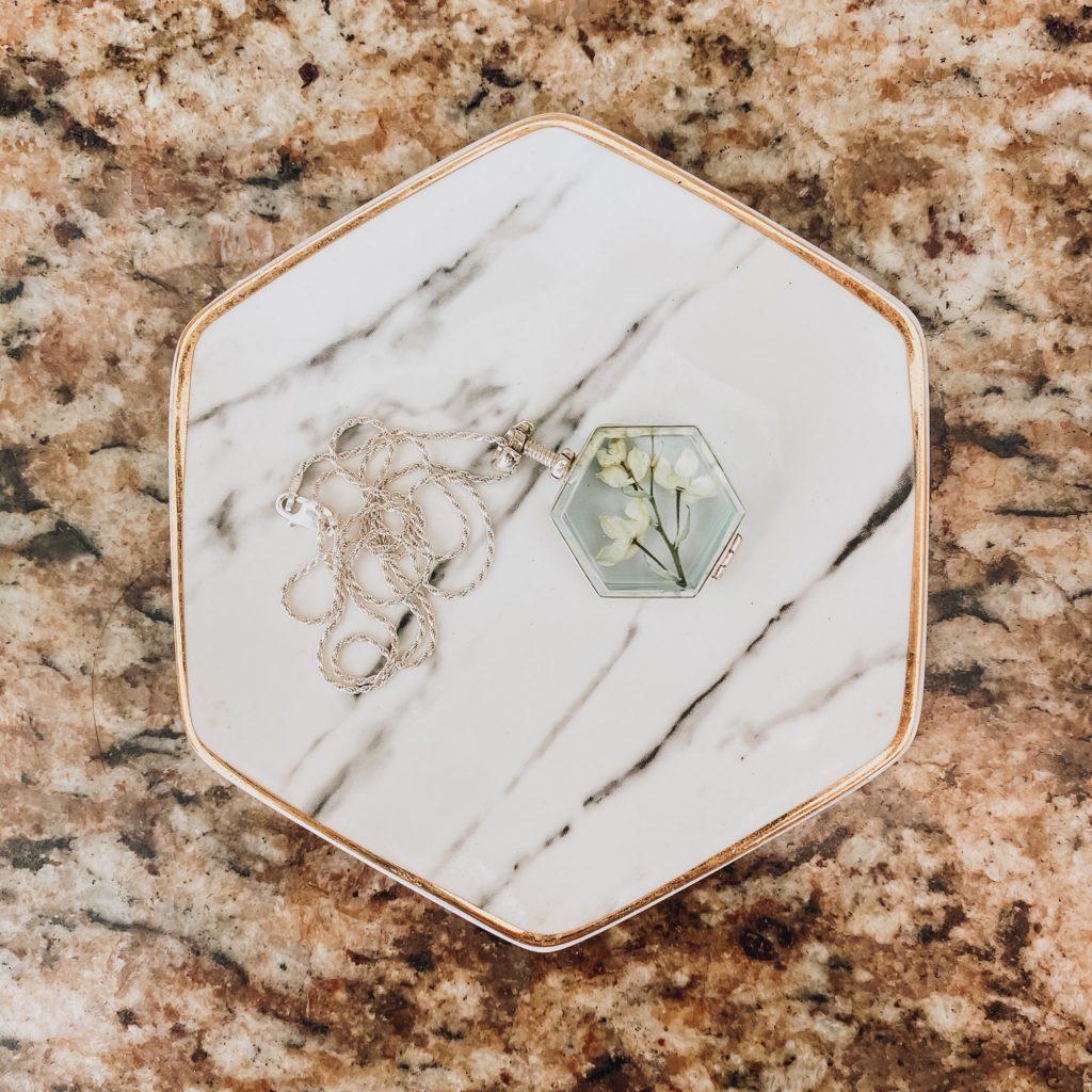 preserved wedding flowers in locket
