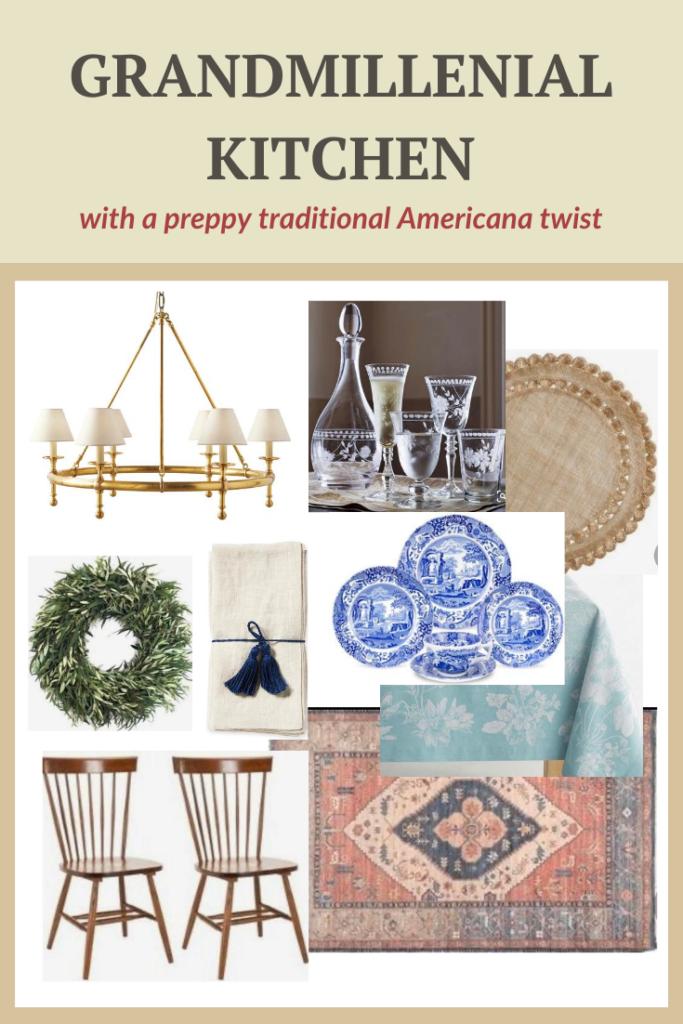 Grandmillenial Kitchen with a preppy traditional Americana twist